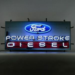"""Neon Sign - Ford Power Stroke Diesel 32"""" * F 250 F350 Series For Shop or Garage"""