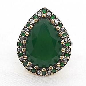Deco 7.90ct Emerald & Diamond Cut White Sapphire 14K Yellow Gold 925 Ring SZ 8.5