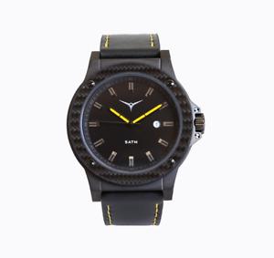 ZINVO Men's Luxury Watch Carbon fibre finish + Black Leather Strap + Gift Box