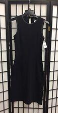 D&G Dolce and Gabbana Sleeveless Black Grey Trim Wool Sheath Dress Size 26/40