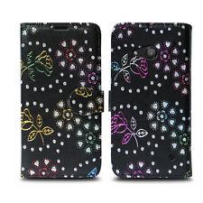 Microsoft LUMIA 535 550 650 Nokia 3 5 6 Leather Wallet Phone Fone Case Cover LUMIA 635 Metallic Flower Black - Glitter Embossed Twinkle