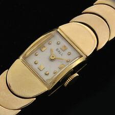 "Vintage Lady's 1950s 14K Yellow Gold Case & Gold Bracelet Wrist Watch 7"" Long"
