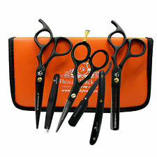 Black Professional Barber Thinning Scissors Set Hairdressing Collage Kit + Case
