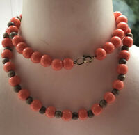1930s Peking Glass Necklace Coral Coloured Beads Wooden Spacer Vintage Retro