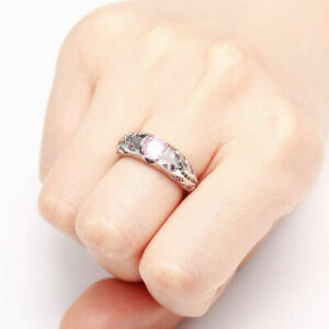 US SELLER BEAUTIFUL PINK SAPPHIRE SIMULATED FLOWER LEAVES 925 STAMP RING SIZE 5
