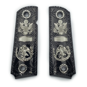 Metal 1911 Grips Full Size Black Nickel Grips 45/38 super Commander Cachas Eagle