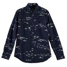 Gstar Landoh Clean Long Sleeve Shirt Mens Collared Navy AOP Buttons UK Size XS