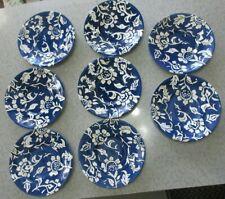 "EDDIE BAUER HOME PLATES BLUE & WHITE 8.5"" SALAD PLATE SET OF 8"