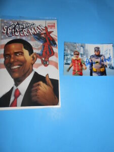 spiderman autographed comic signed by former president obama and bonus item