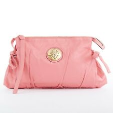 GUCCI Hysteria pink leather gold hardware bow tie side zip top large clutch bag