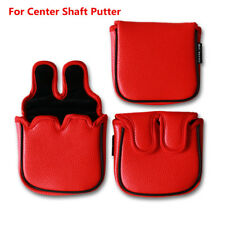 """Magnetic Center Shafted Square Mallet Putter Head Cover Headcover 5"""" x 4.5"""" Red"""