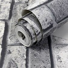 New Grey Brick Wall Grey Shimmer Tones Effect Faux Metallic Feature Wallpaper 3D