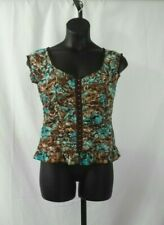 Dressbarn Women's Size XL Teal Brown & White Bustier Style Top
