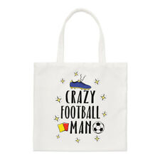 Crazy Football Man Regular Tote Bag Funny Soccer Shopper Shoulder