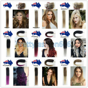 """20"""" DIY Easy Micro Bead Loop Ring Remy Human Hair Extensions 100s 200s AU Stock"""