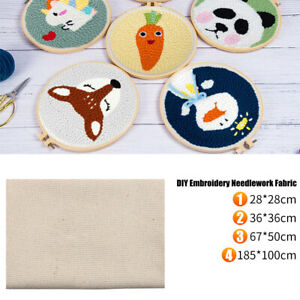Handmade Cotton DIY Fabric Blend Monks Cloth Punch Needle Embroidery Needlework