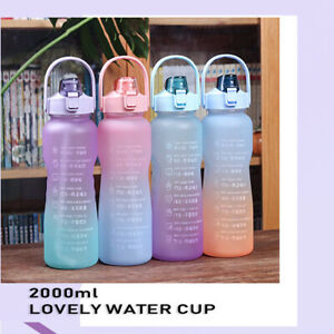 2L Motivational Water Bottle Time Marker Large Gradient Straw Sports Jugs Cup