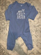 Look At Back My First Easter 9 Month Bunny Light Blue Romper Button Long Sleeve