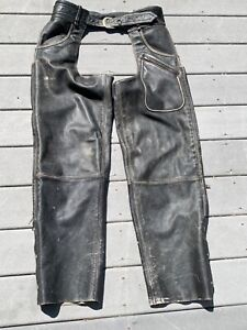 Harley Davidson Panhead Distressed Leather Chaps Mens Large NICE