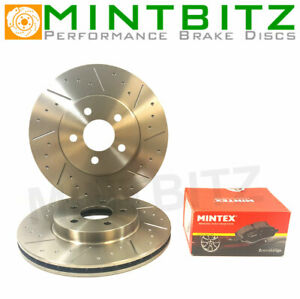 BMW Coupe E92 325d 03/07- Front Brake Discs Mintex Pads Dimpled & Grooved