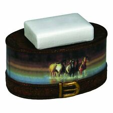 Rush Hour Horses Soap Dish Holder Brown Western Decor - New - Ships Free In Usa