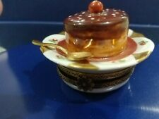 Limoges France peint main trinket box pre-owned, choc cake with cherry on plate.