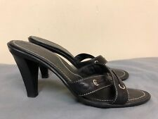 Tod's women Leather Crisscross Heels Shoes Slides in black color  size 10.5