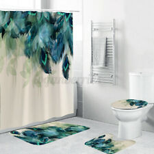 4Pcs Waterproof Peacock Feather NonSlip Bath Mat Rug Toilet Cover Shower  M U L