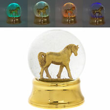 Small Gold Unicorn LED Water Ball Snow Globe Colour Changing Glitter Ornament
