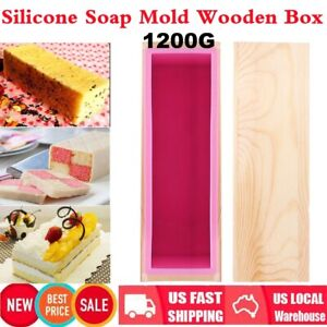 1200Kg Flexible Rectangular Silicone Soap Mold with Wood Box for DIY Baking Cake