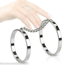 TJS Chain Linked Double Midi Ring Rhodium Pated Brass Finger Knuckle Jewellery