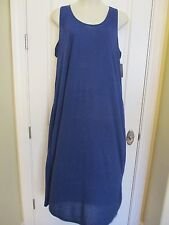 New JUST LOVE Solid Blue Long Sleeveless Sundress~55% Cotton/45% Poly~Size 1X