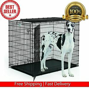 """Dog Kennels EXTRA LARGE Dog Crate 48"""" Folding Cage Metal Double Door BIG XXL"""