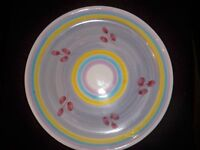 2 CALECA POTTERY PLATTER/ PLATES HAND-PAINTED  ITALY RINGS AND OLIVES   ''12''