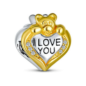 Love Teddy Bear Heart CZ Charm Bead Gold Plated .925 Sterling Silver