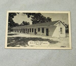 Vintage Traveler's Court Perry GA Real Photo Postcard 1949