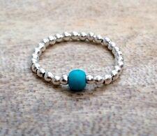 Turquoise Gemstone Silver Ball Beaded Stretch Ring Dainty December Birthstone