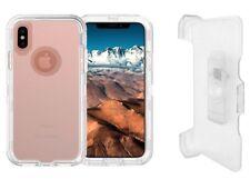 Clear For iPhone XR Transparent Defender Case (Belt Clip Fits Otterbox)