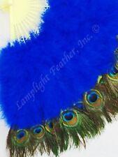 Feather Fan Peacock deluxe Blue per Each