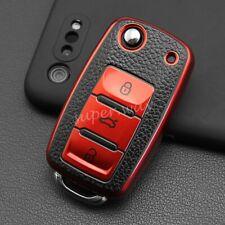 Red Leather Texture Flip Key Fob Case Cover For VW Golf Mk6/Jetta/Tiguan/Passat