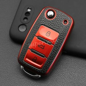 Red Leather Texture Flip Key Case Cover For VW Golf 6 Polo 5 Jetta Tiguan Passat