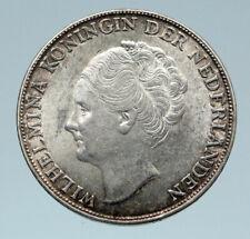 1944 Netherlands Kingdom Queen WILHELMINA Genuine OLD Silver Gulden Coin i82746