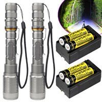 2 Sets Ultrafire 90000Lumens T6 5-mode Zoomable LED Flashlight 18650 Torch Light