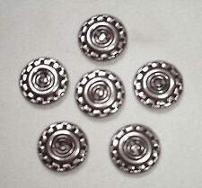 """SET OF SIX NEW VINTAGE 5/8"""" SILVER TONE METAL CHECKERED EDGE DESIGN  BUTTONS"""