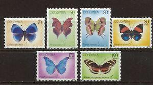 COLOMBIA 1991, MOTHS AND BUTTERFLIES, Scott 1022-1027, MNH
