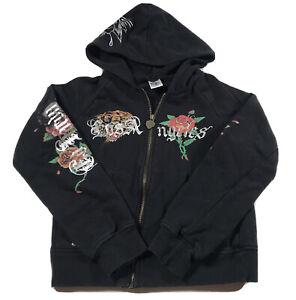 K124 Women's Ed Hardy Los Angeles Full Zip Black Hoodie Jacket Size Small Petite