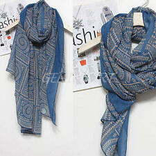 Blue Long Soft Cotton Printed Ladies Large Long Women Sarong Scarf Wrap Shawl