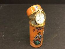 Limoges Hinged Trinket Box With Clock, Peint Main