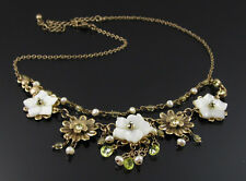 ANTIQUE BRONZE STATEMENT NECKLACE TWO TIER CRYSTAL SET FLOWERS BY MAJIQUE LONDON