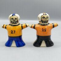 Hartstone Football Player Salt Pepper Shakers Blue Orange Black Uniform 25 27